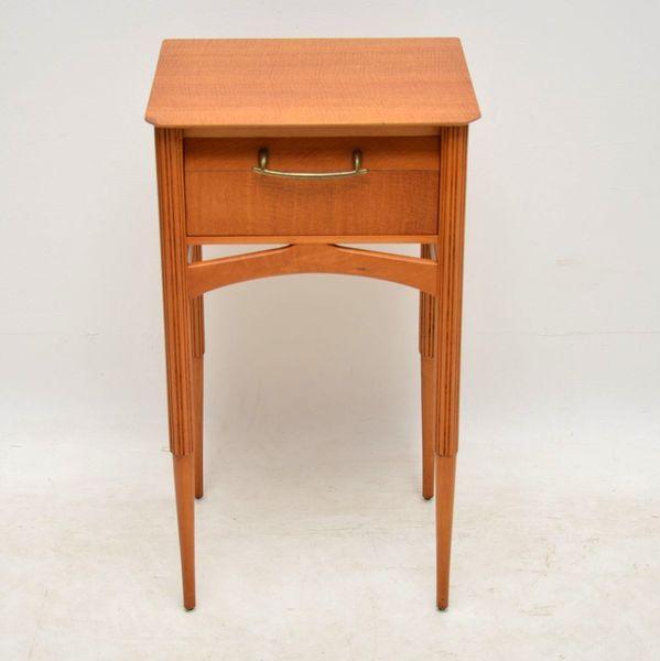 1950's Vintage Satin Wood Bedside Table / Lamp Table
