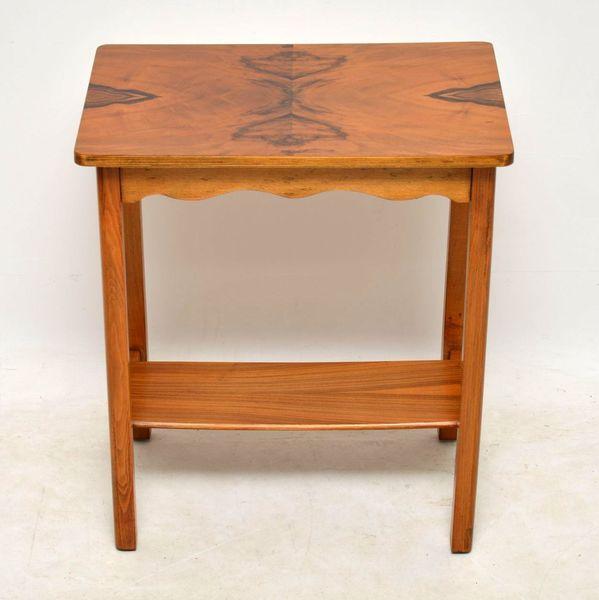 1920's Vintage Art Deco Walnut Side Table