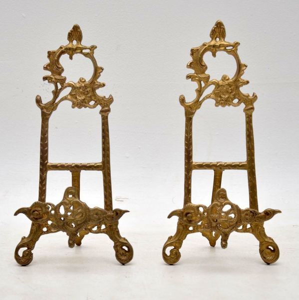 Pair Of Antique Gilt Metal Picture Holders