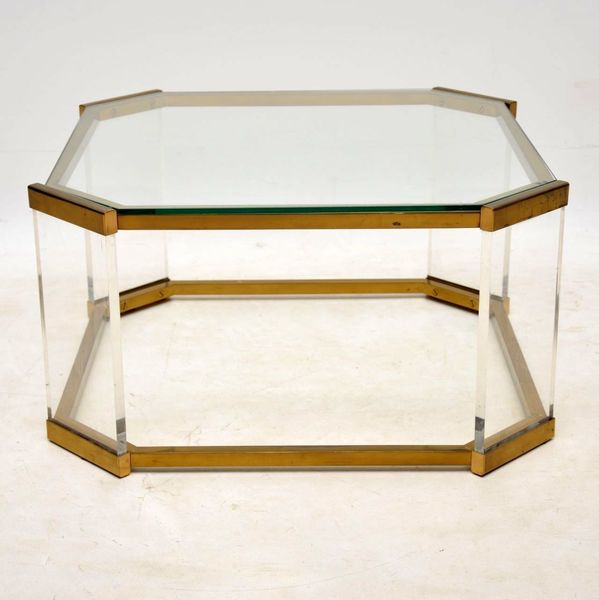 1970's Vintage Glass, Brass & Acrylic Coffee Table