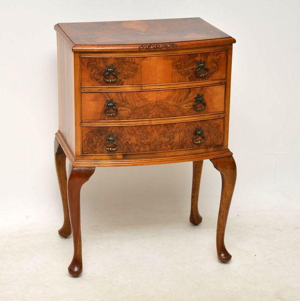 Antique Burr Walnut Bedside Cabinet / Side Table