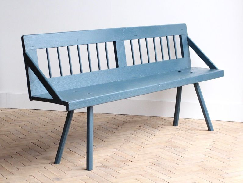 Vintage Folky Wooden Blue Painted Garden Bench