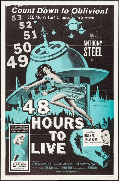 An Original U.S. Sci Fi Movie Poster For 48 Hours To Live, 1959