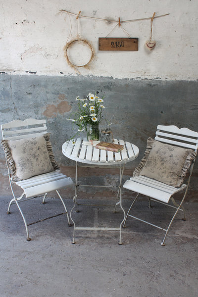 White Vintage French Folding Bistro Set Garden Table And Two Chairs