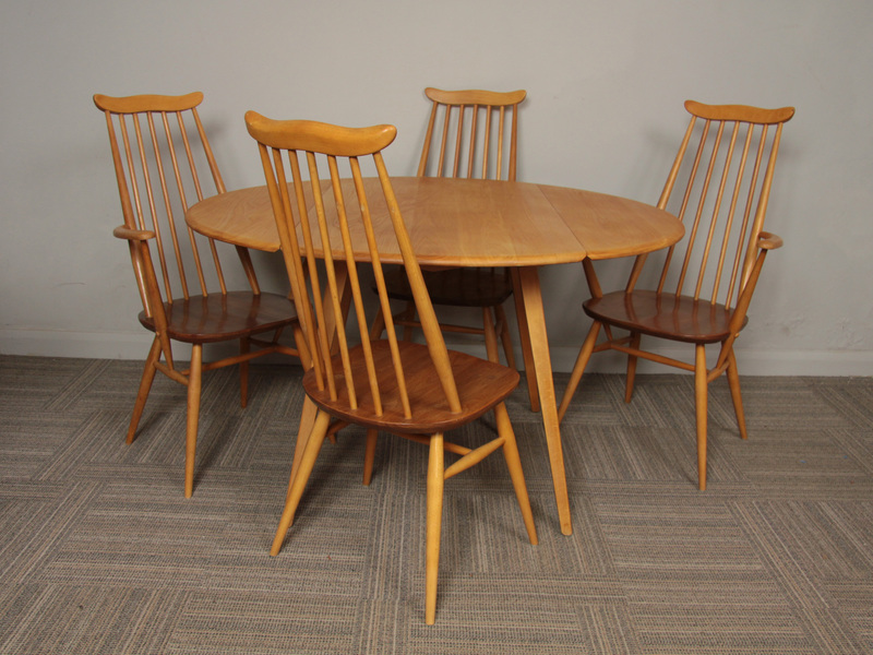 1960s Ercol Beech And Elm Oval Drop Leaf Dining Table 4 X Goldsmith Chairs