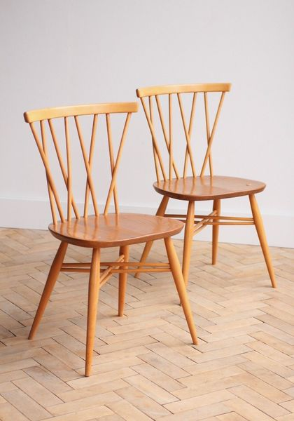 Vintage Retro Pair Of Ercol Elm Candlestick Dining Chairs Mid Century