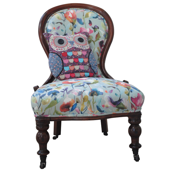 Antique Victorian Chair Upholstered In Voyage Fabric.