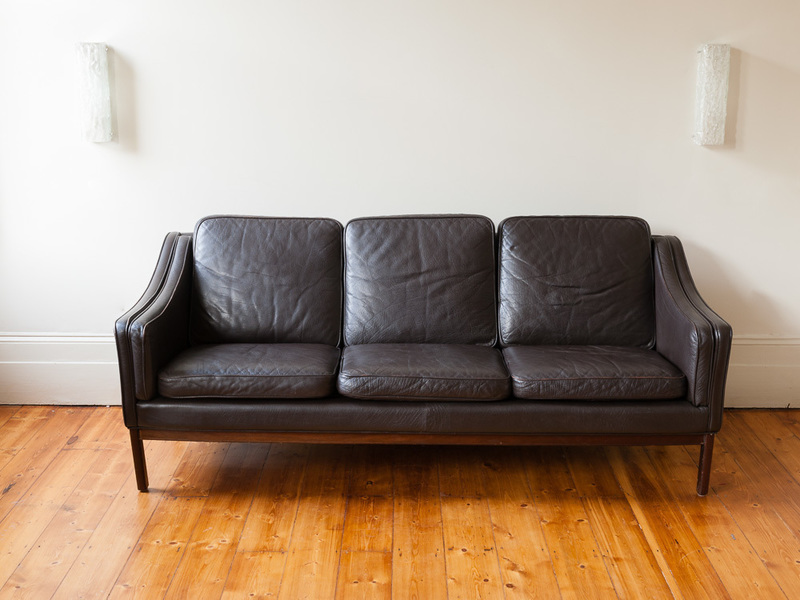 Danish Mid Century Modern Leather Three Seater Sofa photo 1