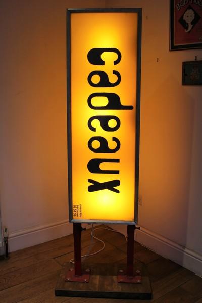 "Vintage Industrial Illuminated ""Cadeaux"" Shop Sign"