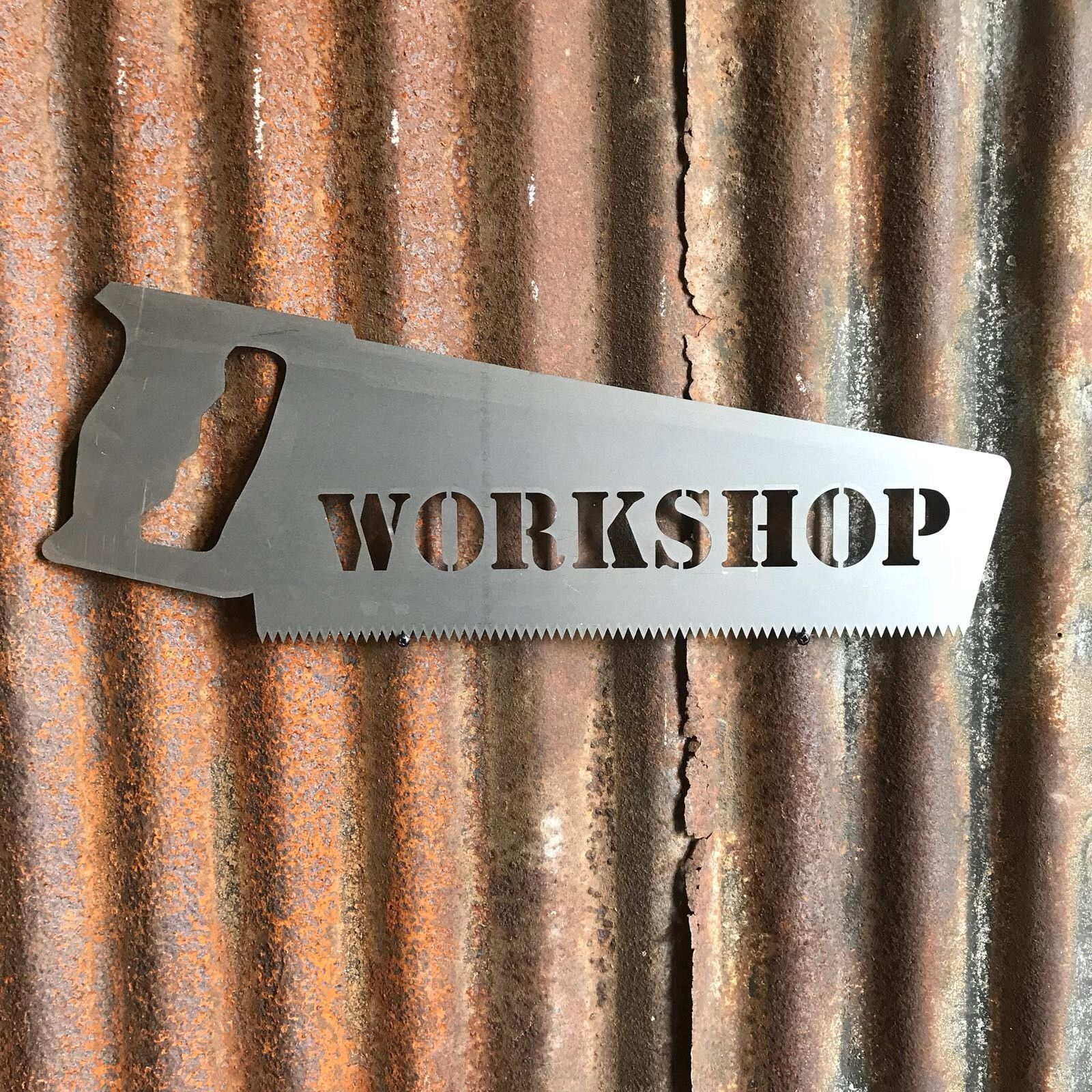 Steel Workshop Saw Sign Metal Shop Front Home Garage Man Cave Pub Bar Shed Vinterior