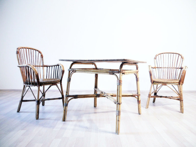 Incredible Vintage Mid Century 1960S Bamboo Outdoor Garden Furniture Terrace Chairs With Matching Table Interior Design Ideas Apansoteloinfo