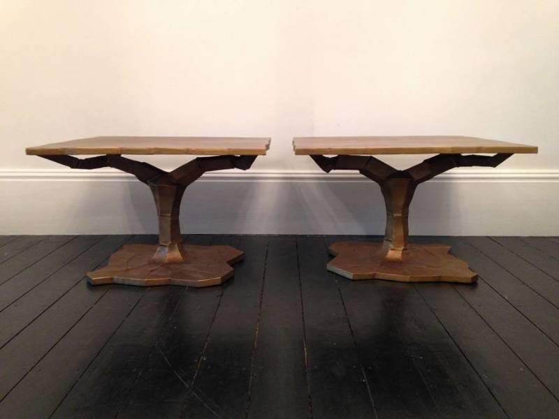 A Pair Of Gold Metal Side Tables