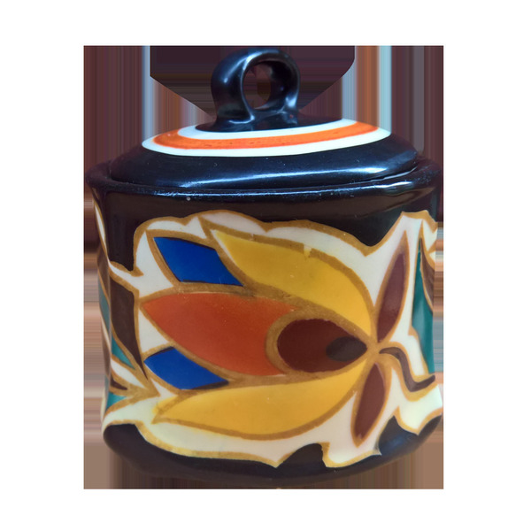 Art Deco Vintage Czech Hand Painted Jam Or Honey Pot With Lid Possibly