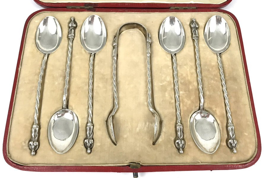 Exceptional Cased Set Of Silver Spoons, Spoons And Tongs, Apostle Tops, Twisted Stems, Mappin & Webb, Sterling Silver Flatware, Victorian