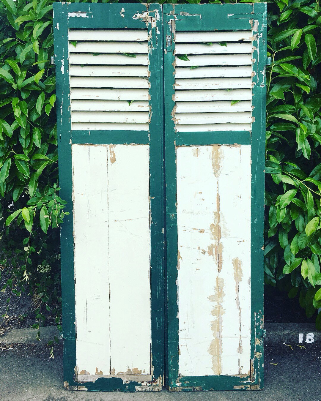 Chippy Paint Fine Pair Of French Antique Window Shutters Original Green Cream