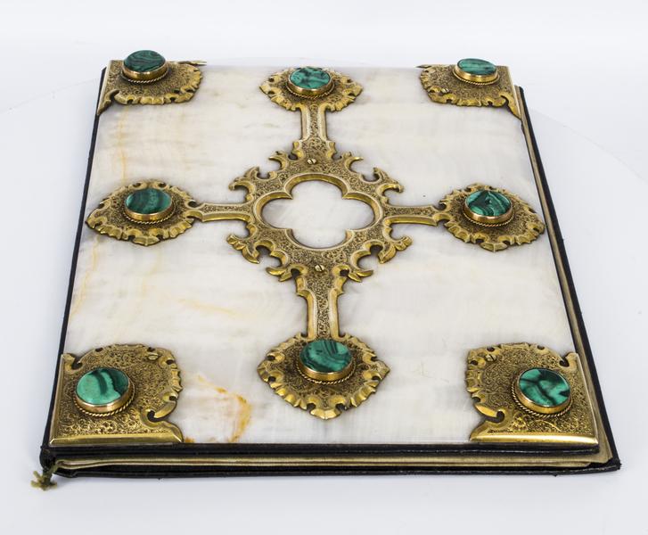 Antique Victorian Ormolu Malachite Onyx Desk Blotter C1870 photo 1