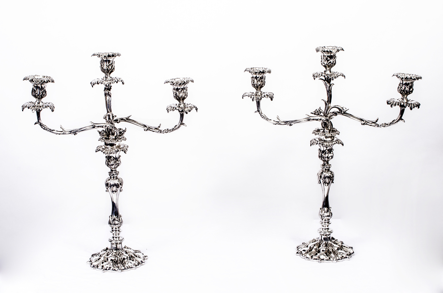 Antique Pair Victorian 3 Light Candelabra Elkington C1865 photo 1