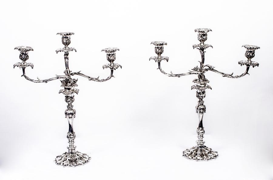 Antique Pair Victorian 3 Light Candelabra Elkington C1865